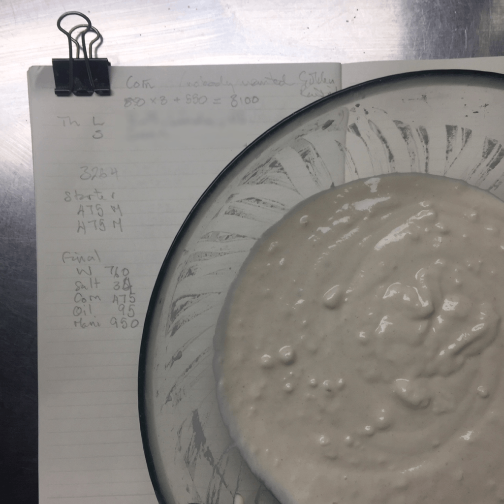 first build of sourdough leaven resting on notebook