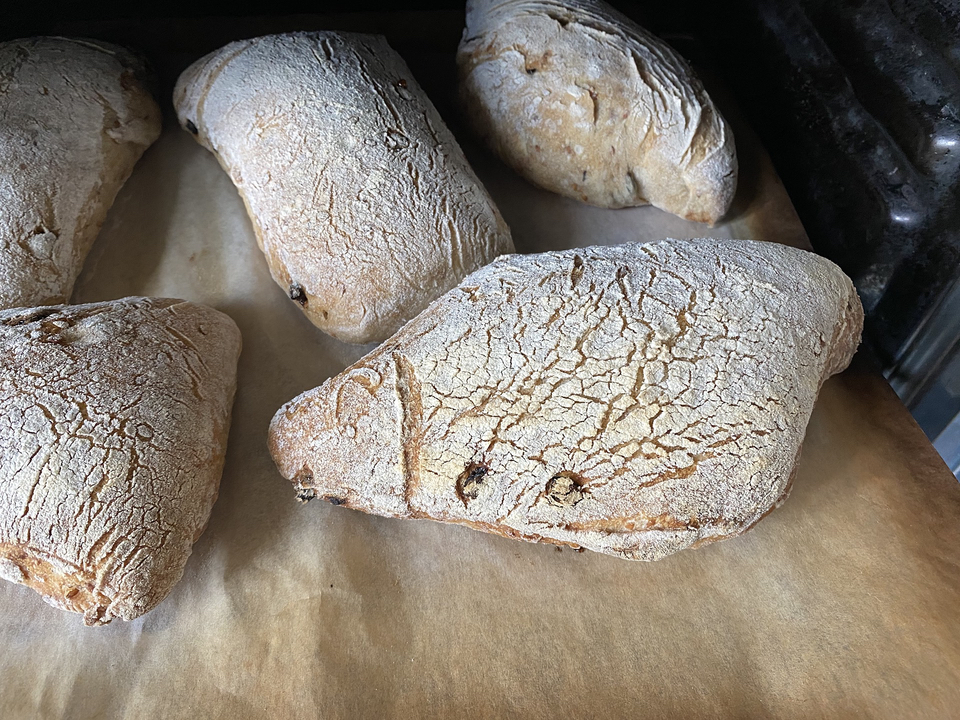 Baked loaves on parchment coming out of the oven